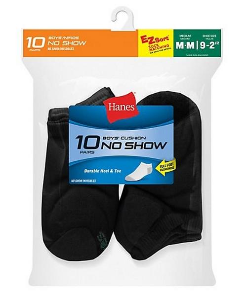 Hanes Boys' No-Show EZ Sort® Socks 10-Pack youth Hanes