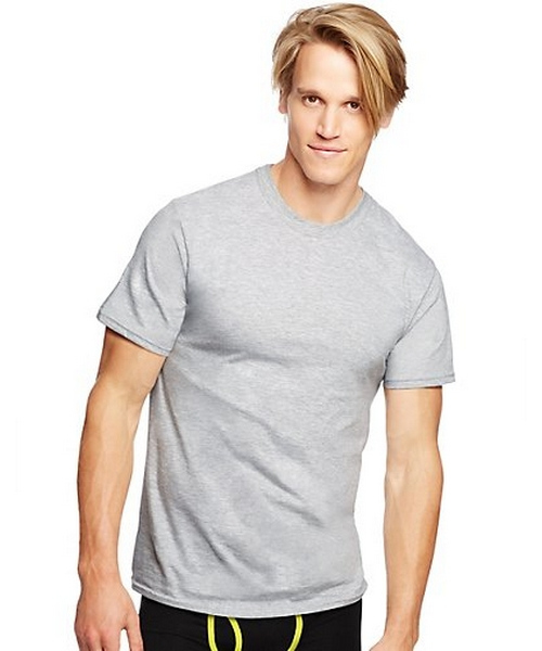 Hanes Classics Men's Traditional Fit ComfortSoft® TAGLESS® Black/Grey Crewneck Undershirt 3-Pack men Hanes