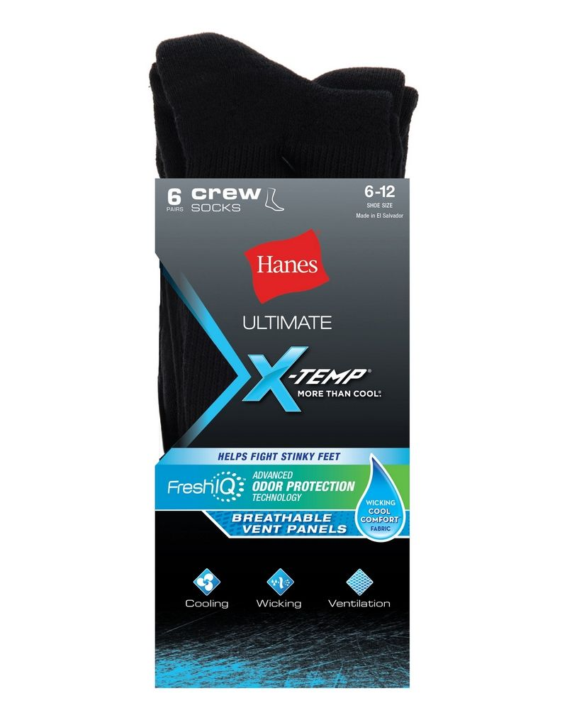 Hanes Ultimate® Men's X-Temp® FreshIQ™ Black Crew Socks 6-Pack men Hanes