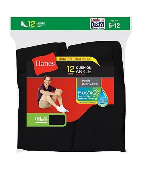 Hanes Men's Ankle Socks 12-Pack (Styles 186V12 and 145V12) men Hanes
