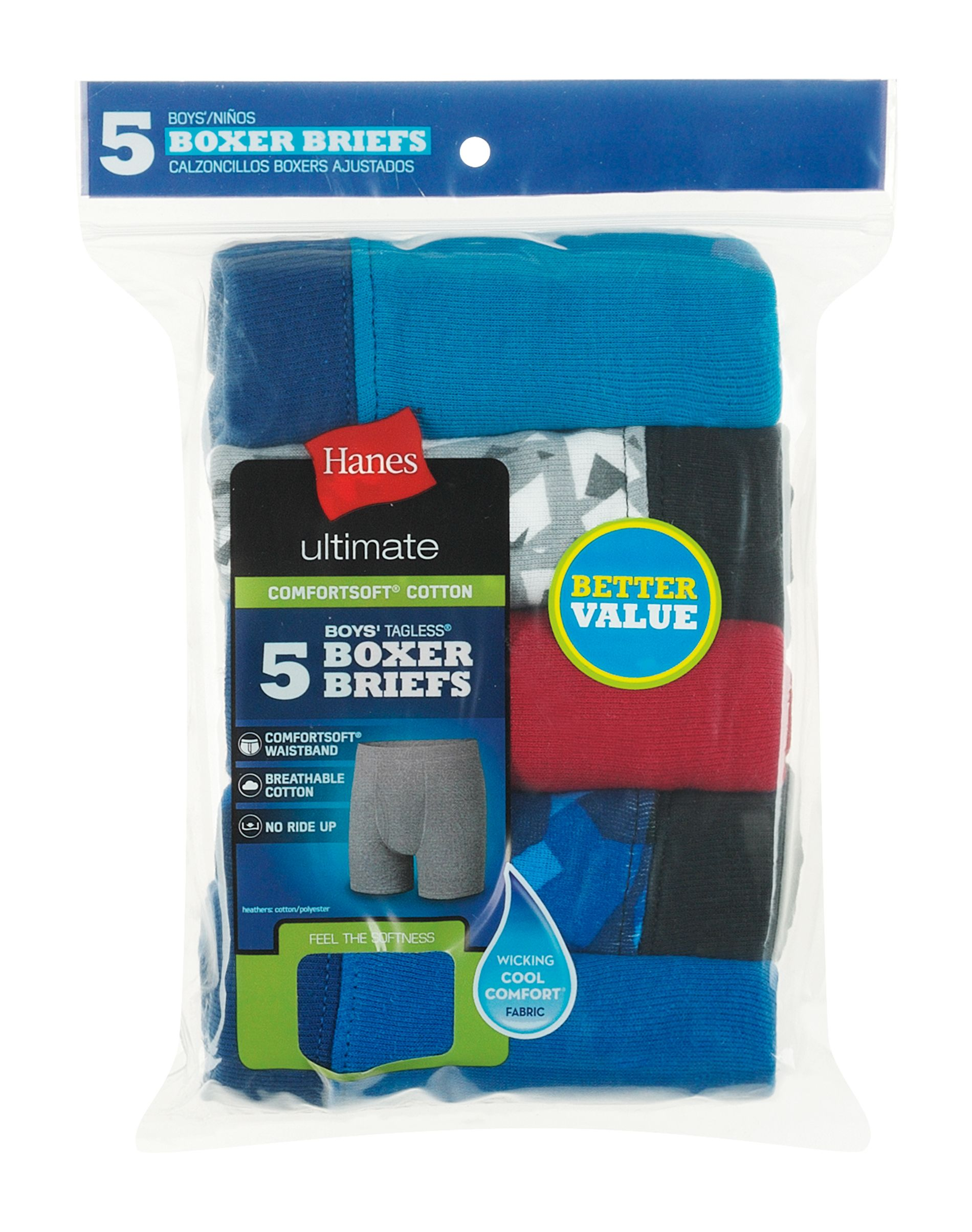 hanes ultimate® boys' dyed boxer brief with comfortsoft waistband 5-pack youth Hanes
