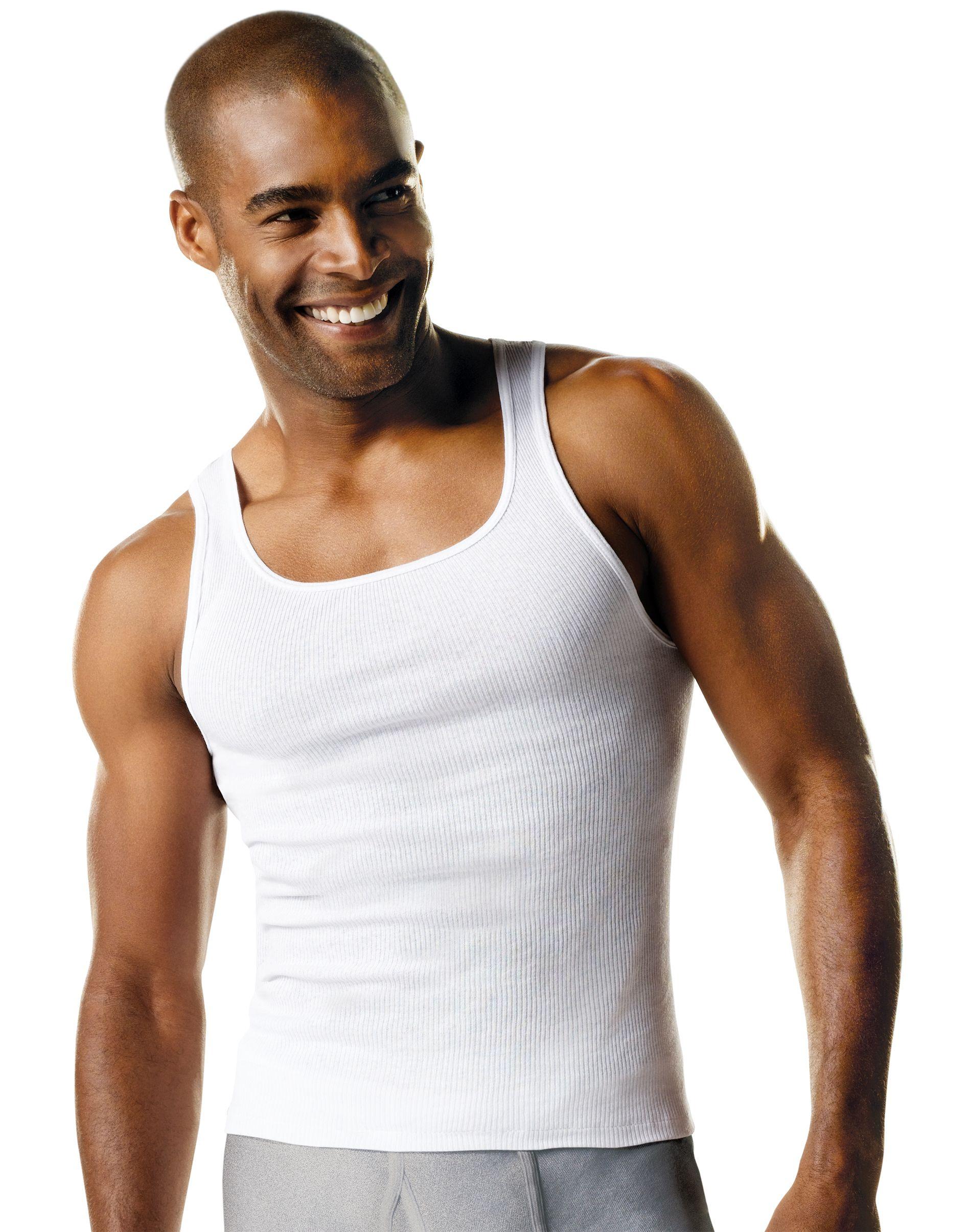 hanes comfortsoft® tagless® mens big & tall tank undershirt 4-pack men Hanes