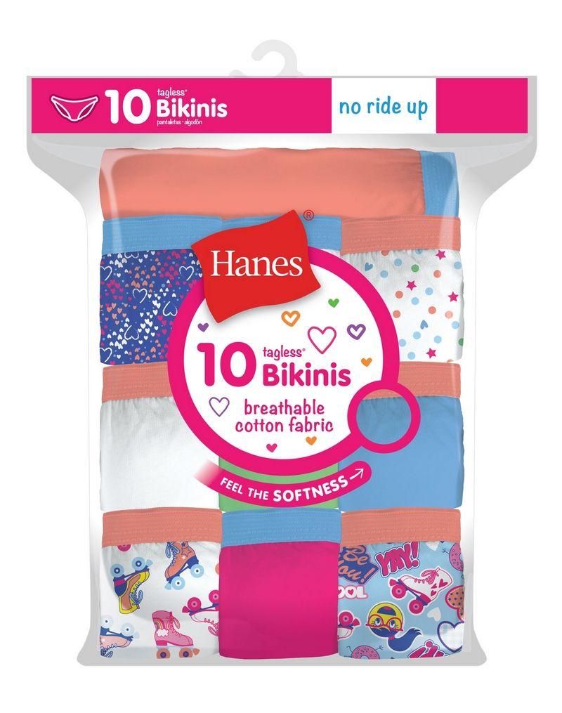 Hanes Girls' Cotton Bikinis 10-Pack youth Hanes