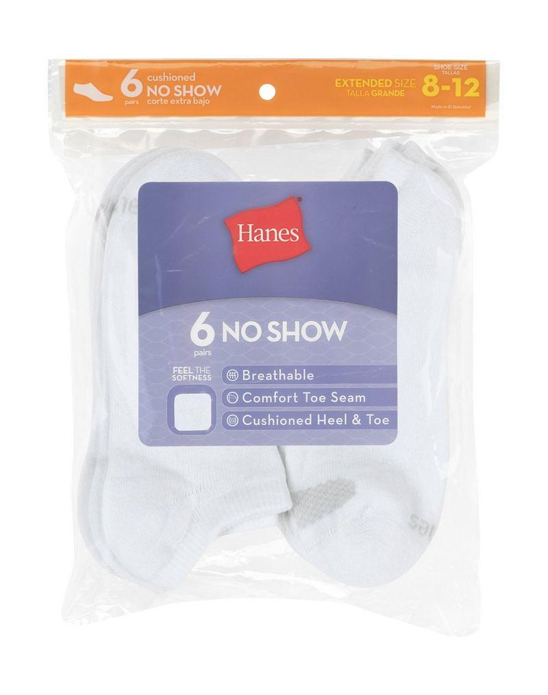 hanes women's cool comfort no show socks extended sizes 8-12 6-pack women Hanes