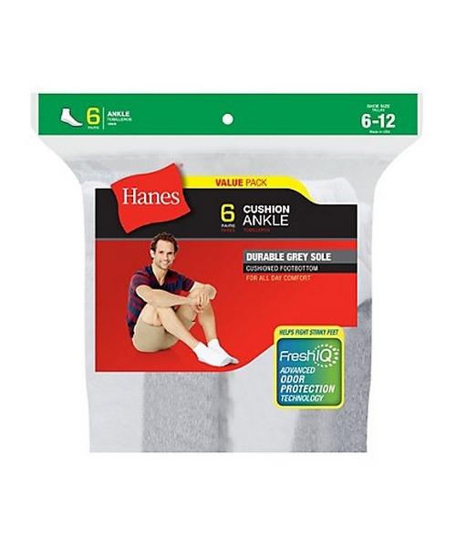 hanes men's cushion ankle socks 6-pack men Hanes