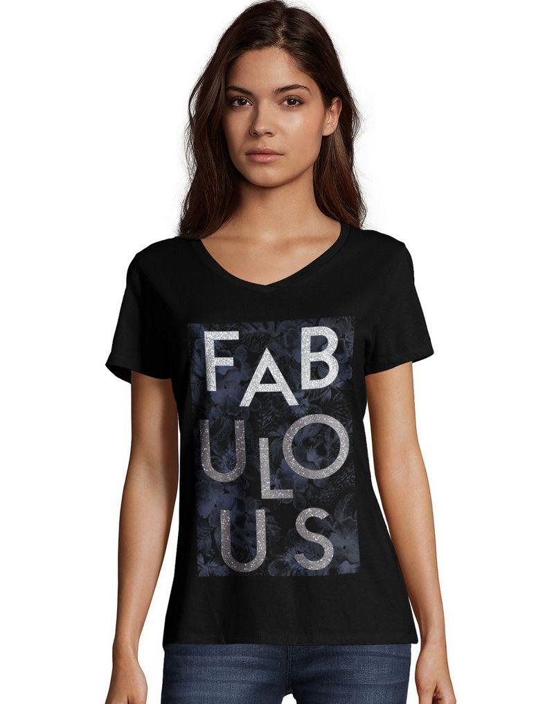 Hanes Women's Fabulous Short Sleeve V-Neck Tee women Hanes
