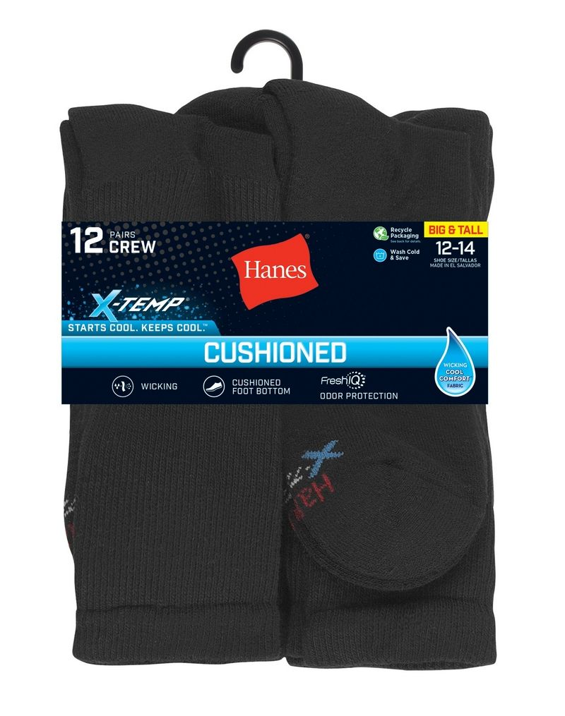Hanes Men's FreshIQ® X-Temp® Active Cool® Big and Tall Crew Socks 12-Pack men Hanes
