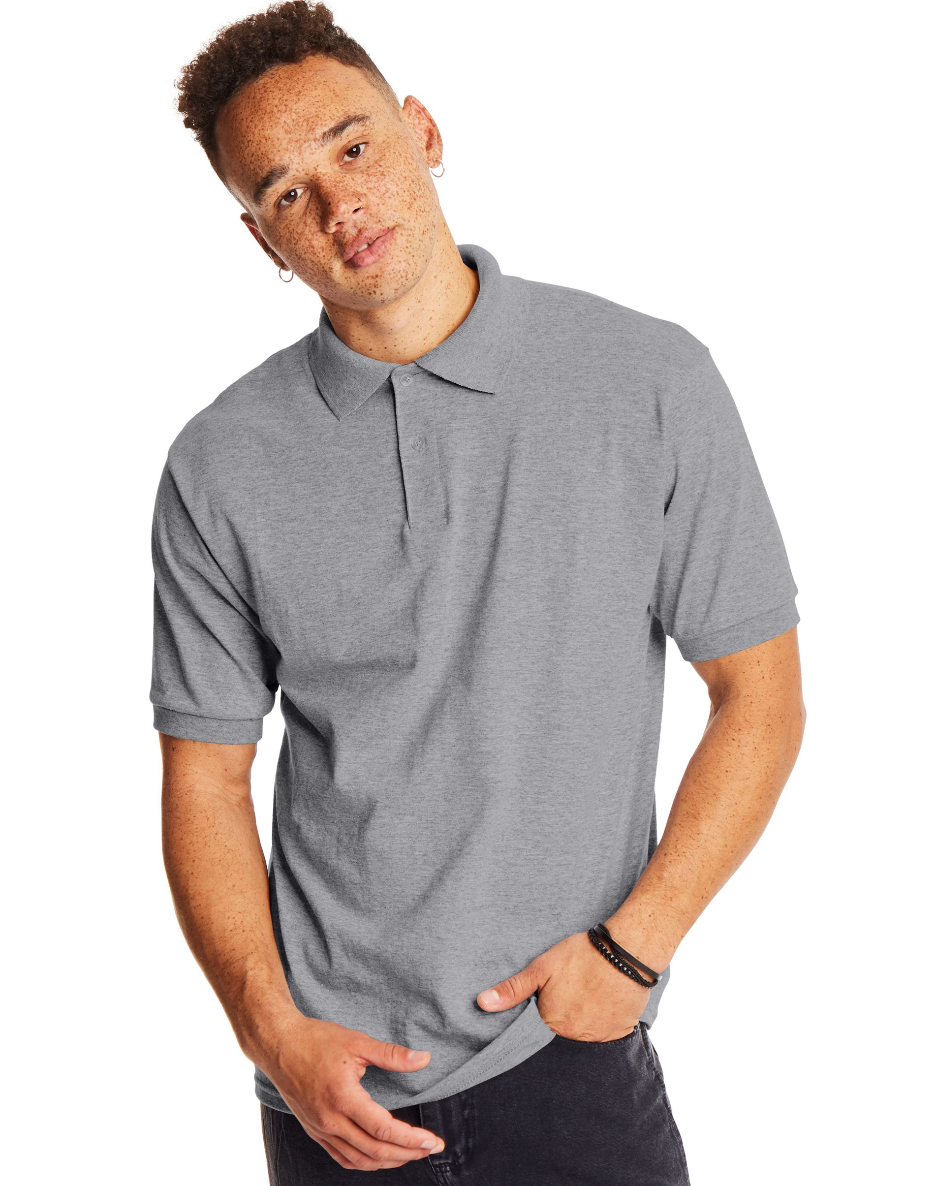 Hanes Men's Cotton-Blend EcoSmart® Jersey Polo men Hanes