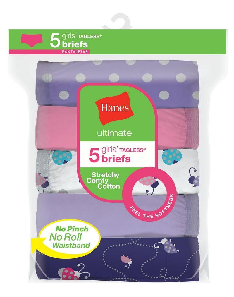 Hanes Ultimate® Girls' Stretchy Comfy Cotton Briefs 5-Pack youth Hanes