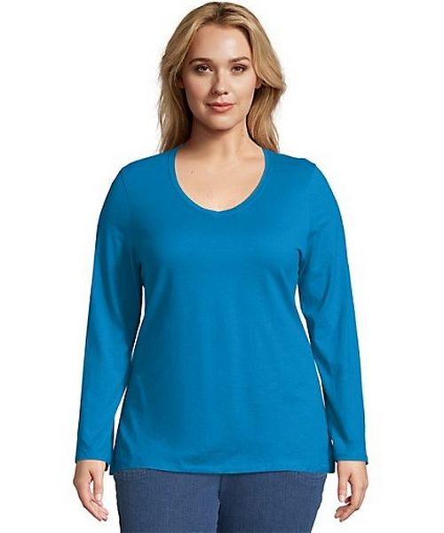 Just My Size Long-Sleeve V-Neck 100% Cotton Women's Tee women Just My Size