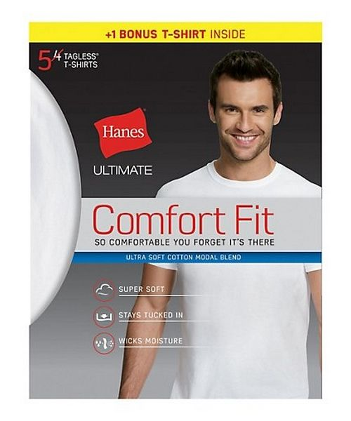 Hanes Ultimate® Men's Comfort Fit White Crewneck Undershirt 5-Pack (4  1 Free Bonus Pack) men Hanes