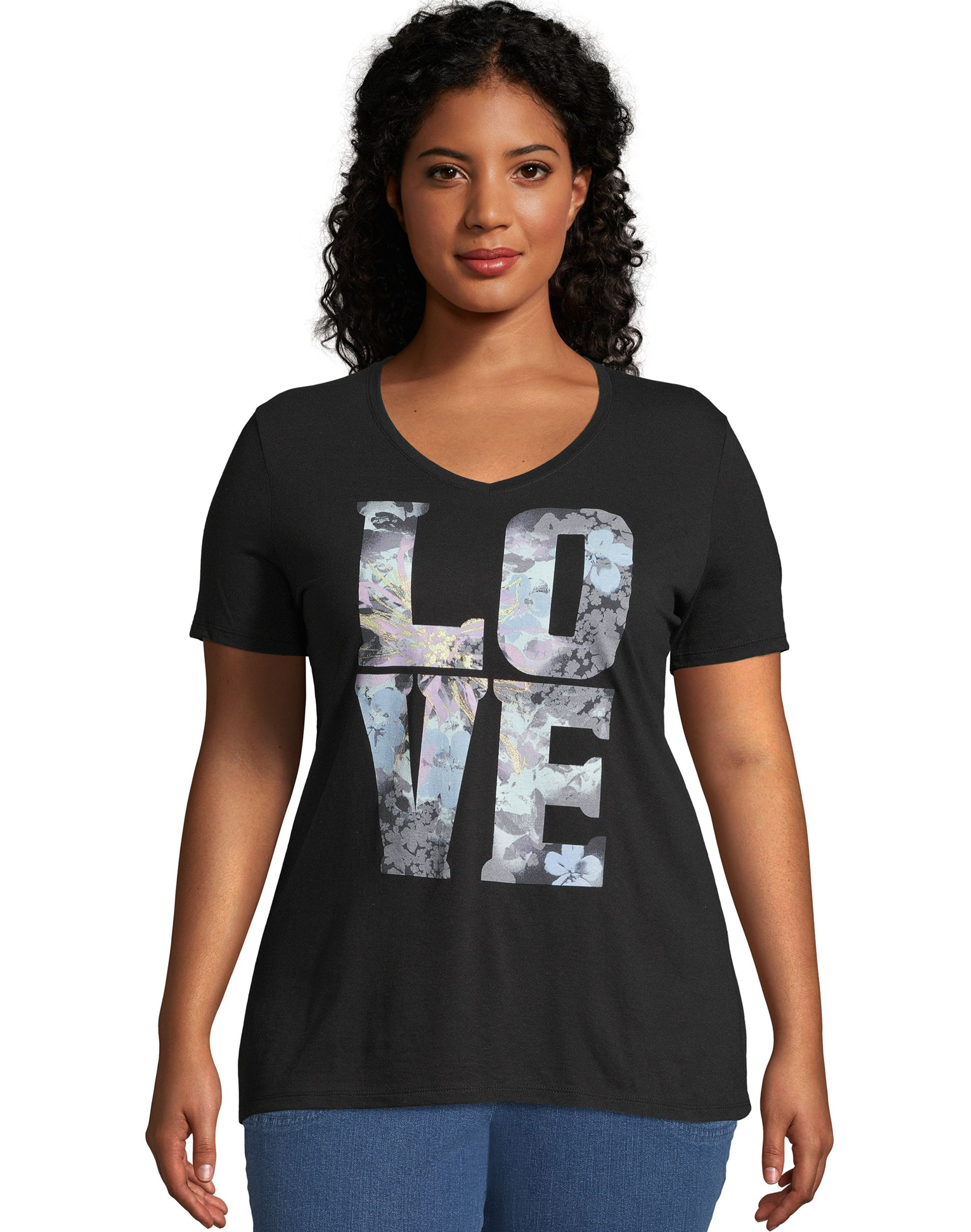 JMS Big Love Short Sleeve Graphic Tee women Just My Size
