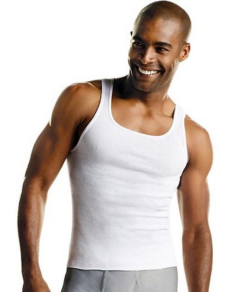 Hanes Men's TAGLESS® ComfortSoft® White A-Shirt 6-Pack men Hanes