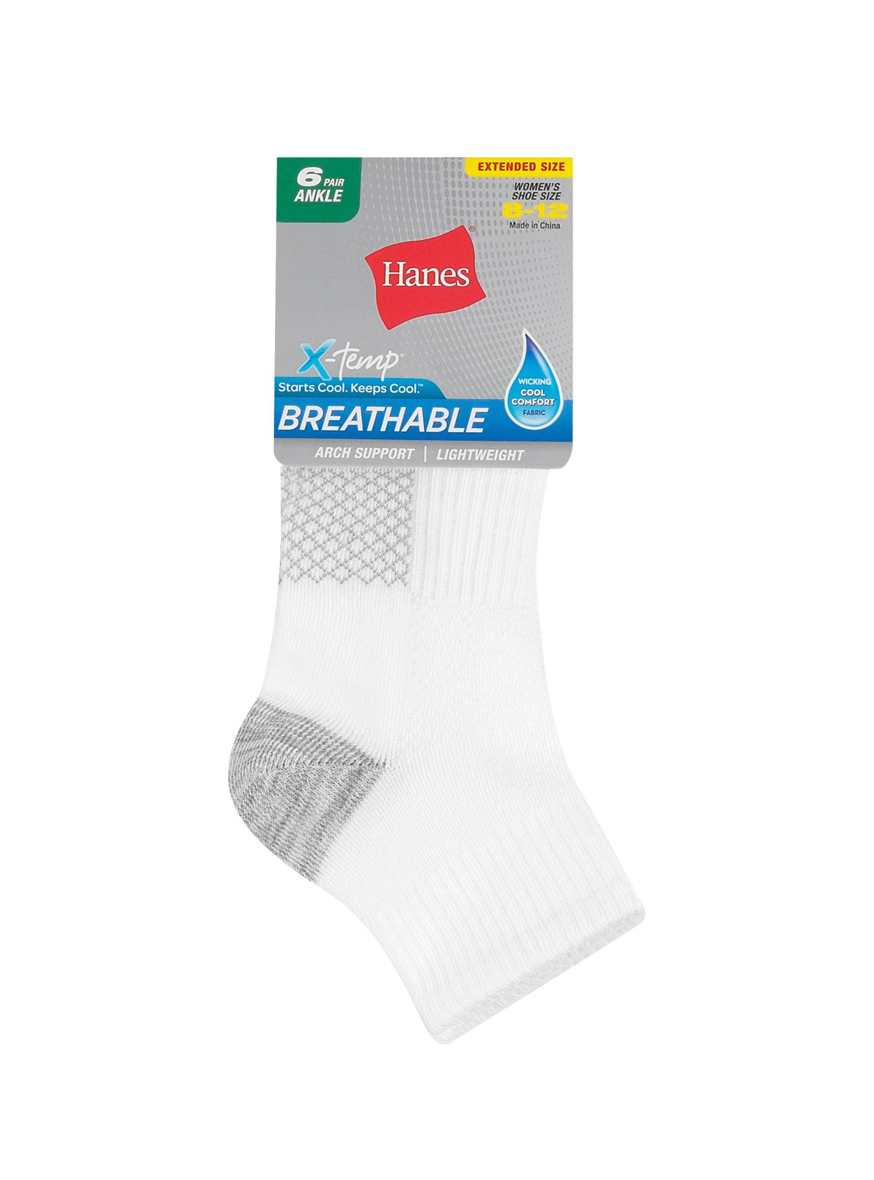 hanes women's breathable lightweight ankle socks extended sizes 8-12, 6-pack women Hanes