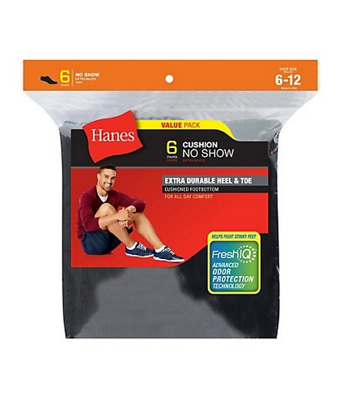 Hanes Men's Cushion No-Show Socks 6-Pack men Hanes