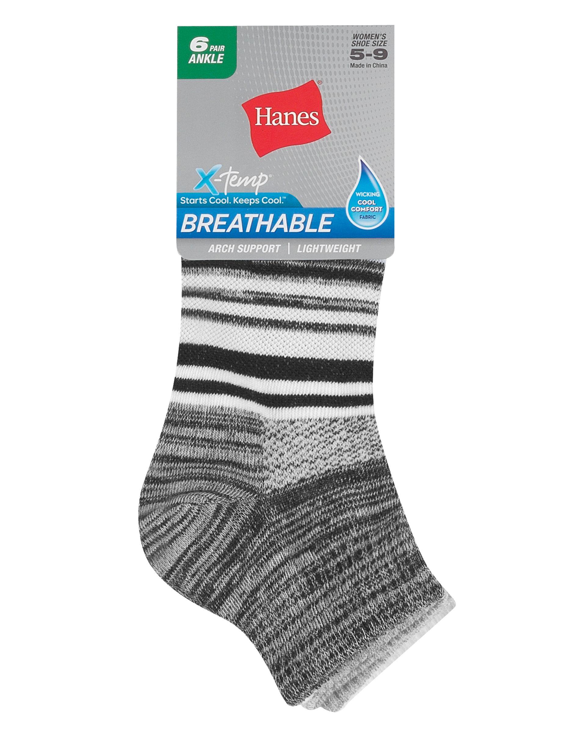 hanes women's breathable lightweight ankle socks, 6-pack women Hanes