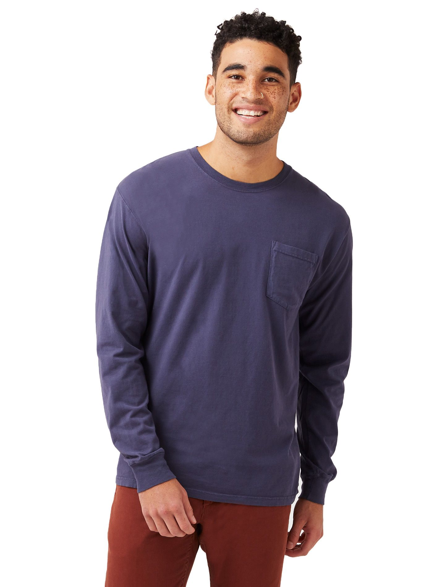 Hanes Men's ComfortWash™ Garment Dyed Long Sleeve Pocket Tee men Hanes