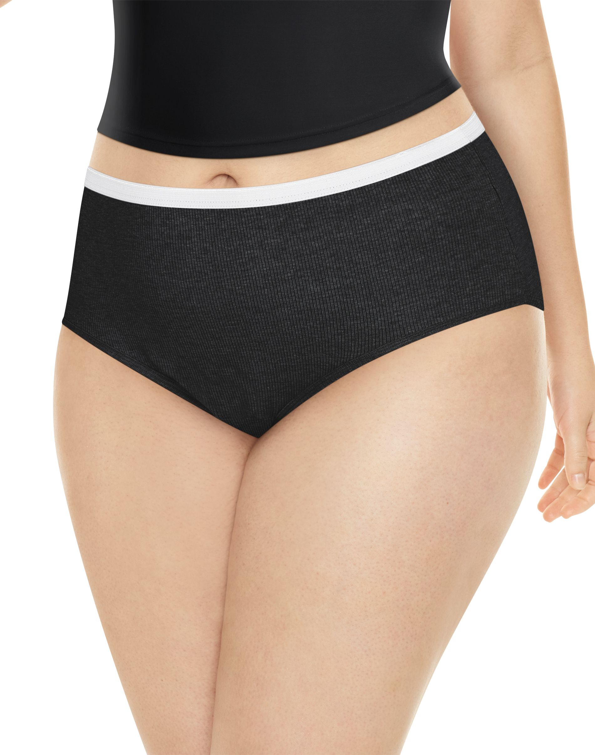 jms ribbed cotton brief 6-pack women Just My Size