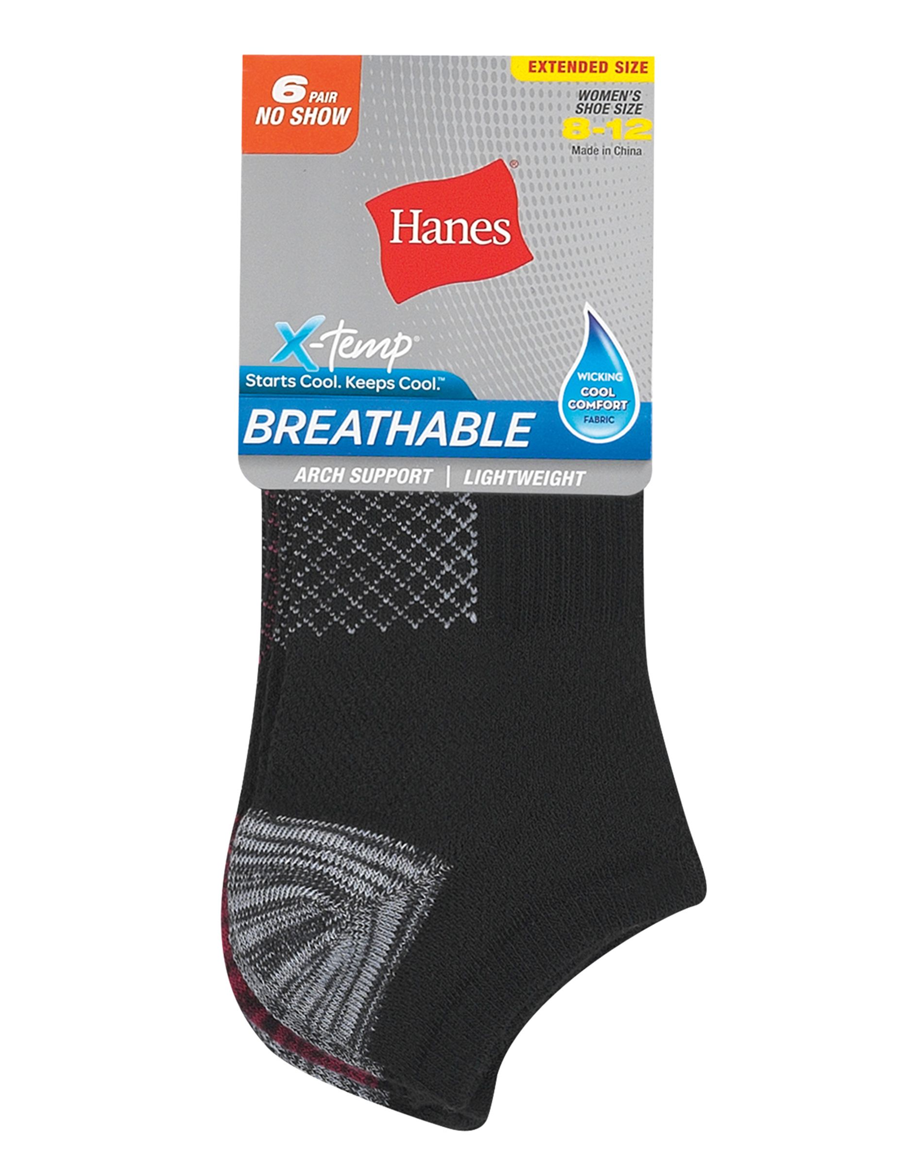 hanes women's breathable lightweight no show socks extended sizes 8-12, 6-pack women Hanes