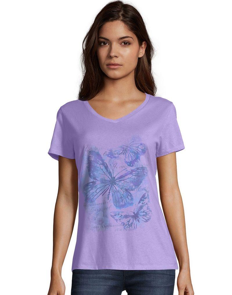 Hanes Women's Big Butterfly Impression Short Sleeve V-Neck Tee women Hanes