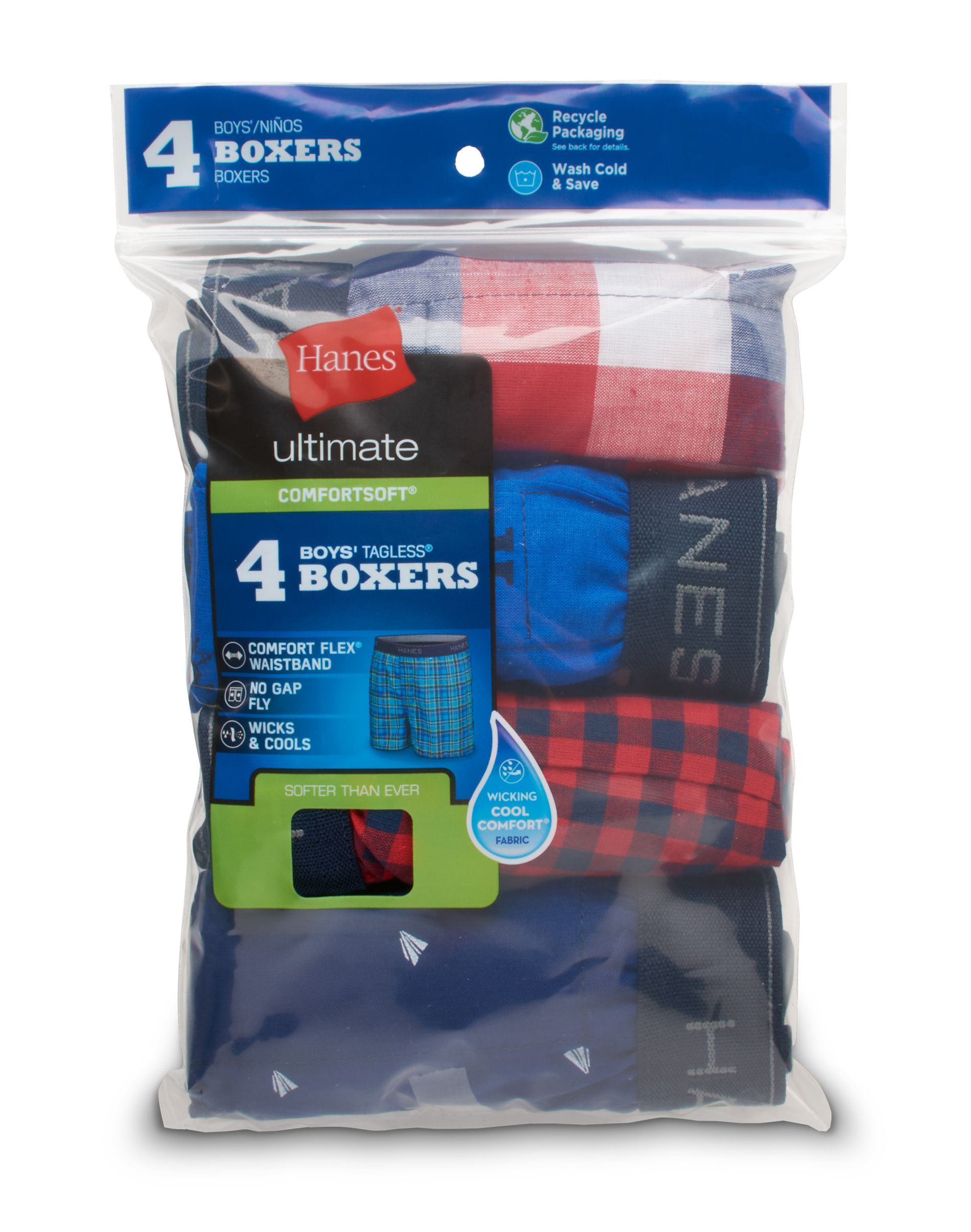 hanes ultimate® boys' plaid/print woven boxers 4-pack youth Hanes