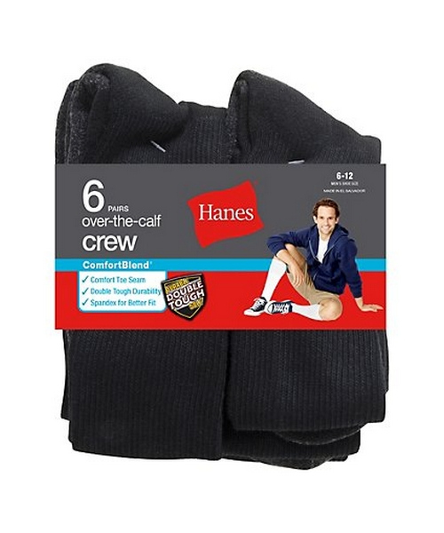 Hanes ComfortBlend® Over-the-Calf Crew Socks 6-Pack men Hanes