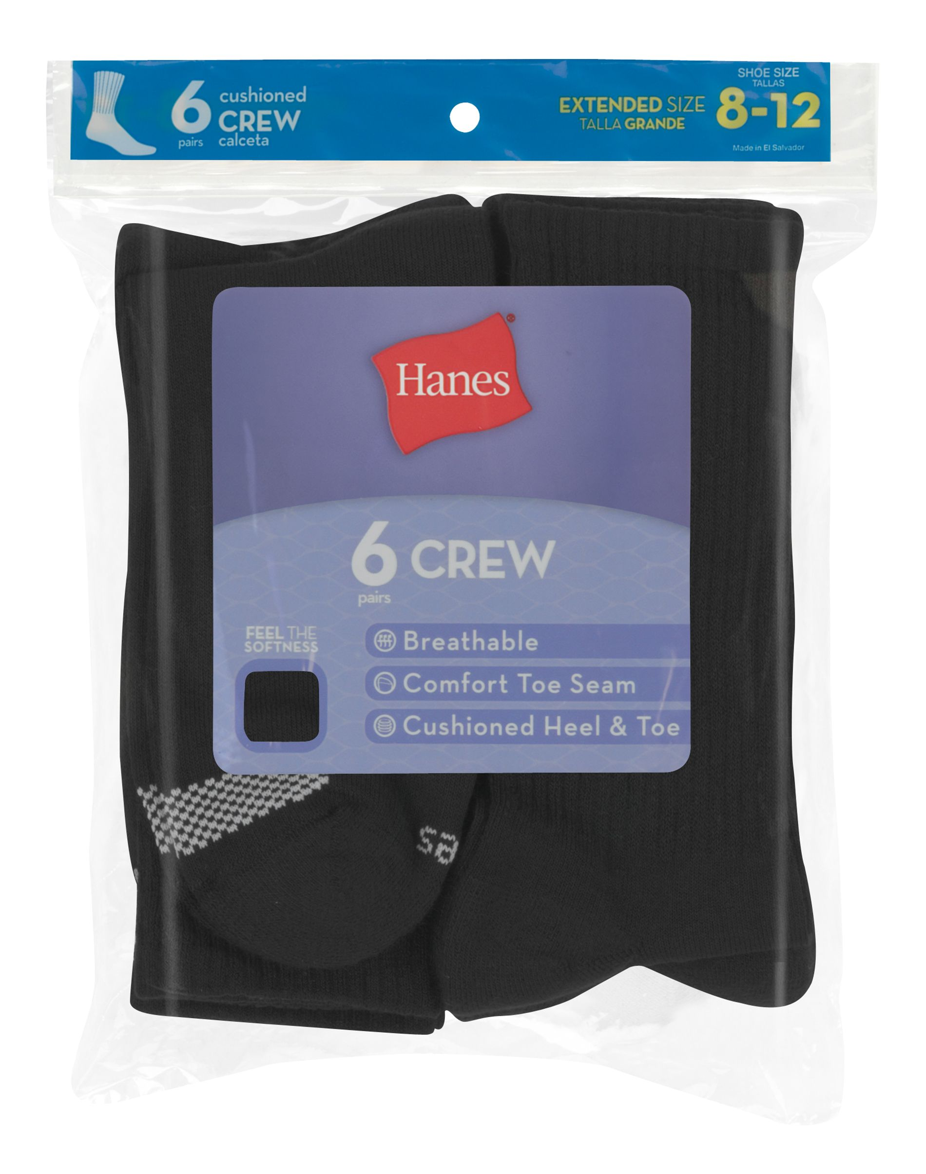Hanes Women's Cool Comfort® Crew Socks Extended Sizes 8-12, 6-Pack women Hanes