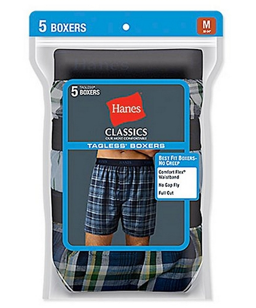 Hanes Classic Mens Yarn Dyed Exposed Waistband Boxer P5 men Hanes