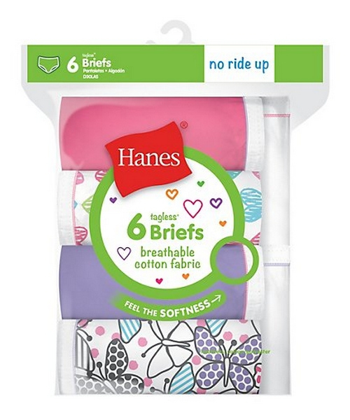 Hanes Girls' Breathable Cotton Briefs 6-Pack youth Hanes