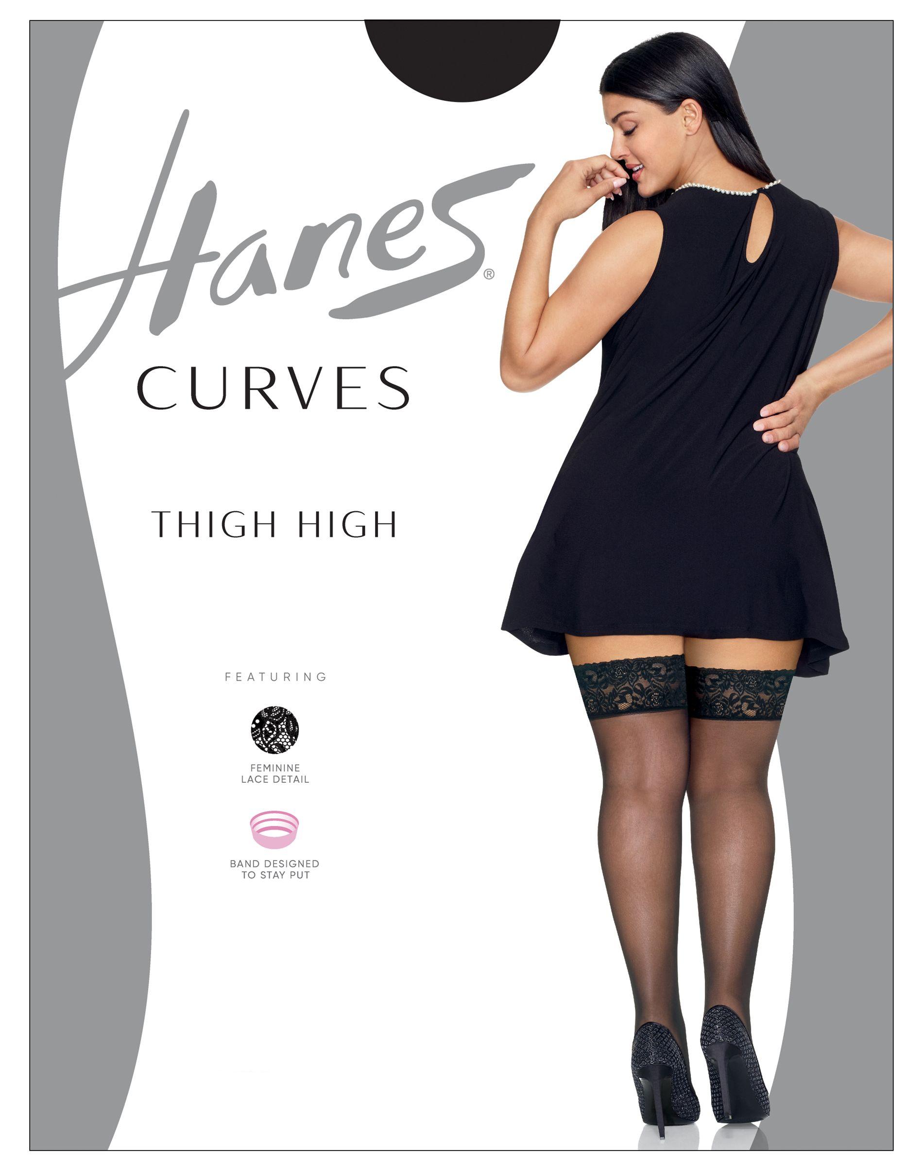 Hanes Curves Lace Thigh High women Hanes