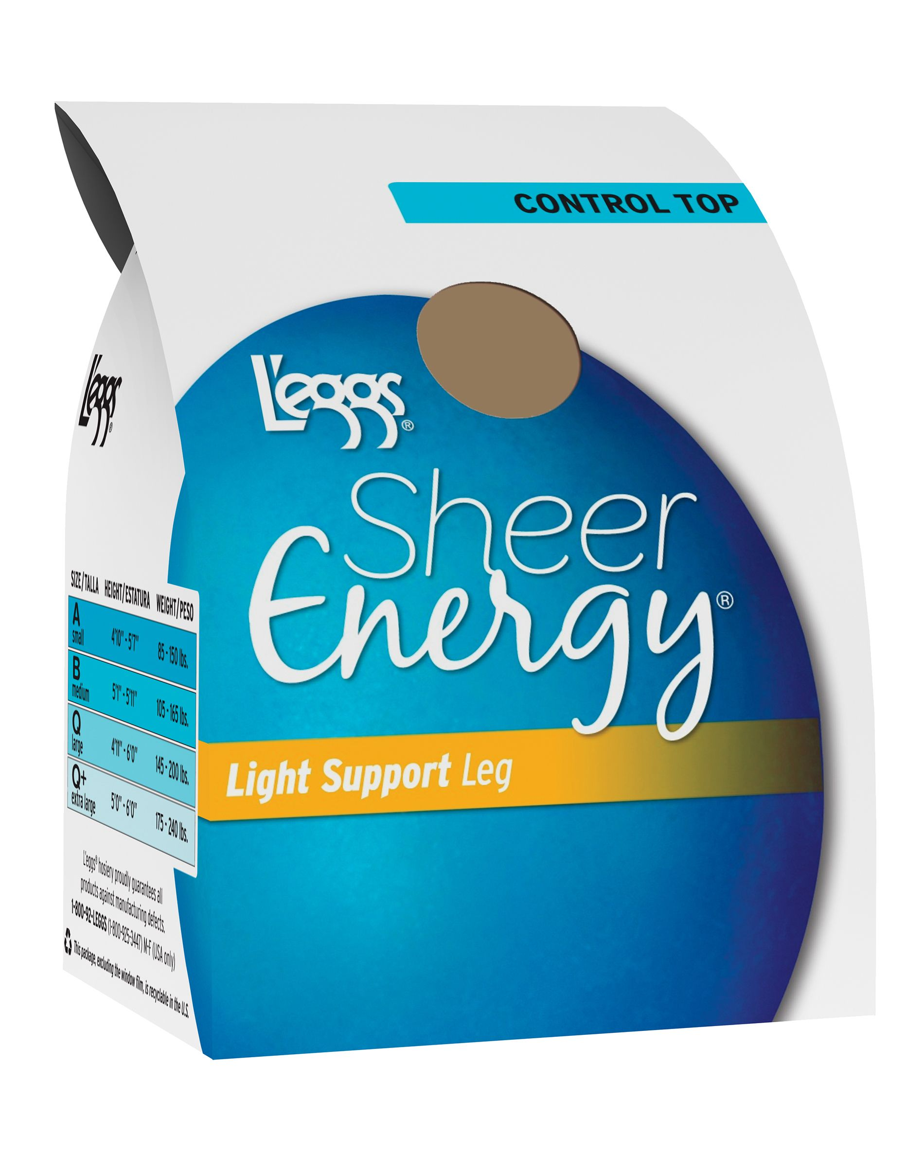 L'eggs Sheer Energy Light Support Leg Control Top, Sheer Toe Pantyhose women L'eggs