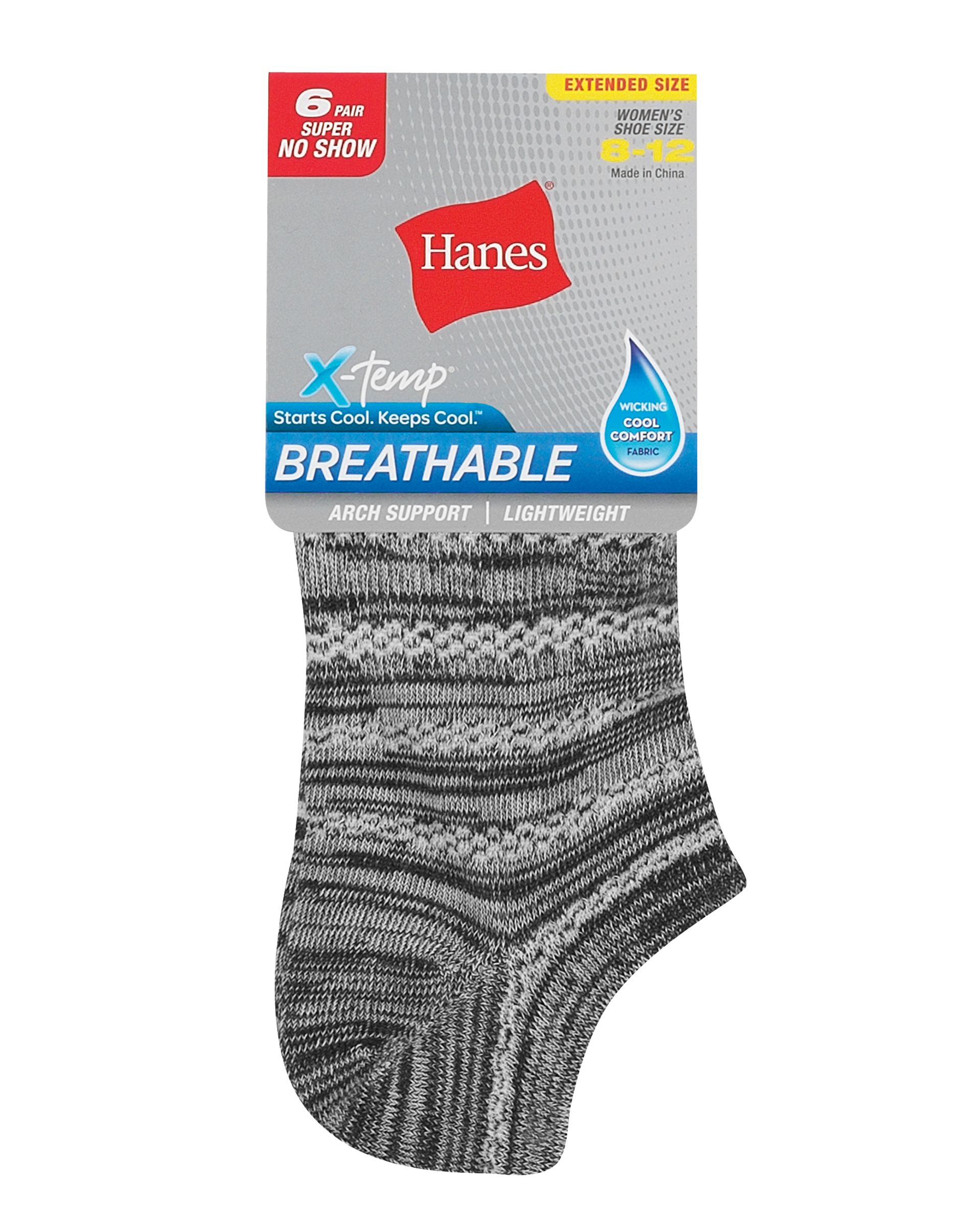 hanes women's breathable lightweight super no show socks extended sizes 8-12, 6-pack women Hanes