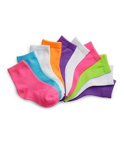 Hanes Girls' Infant/Toddler Ankle EZ Sort® Socks Assorted 10-Pack 37L10