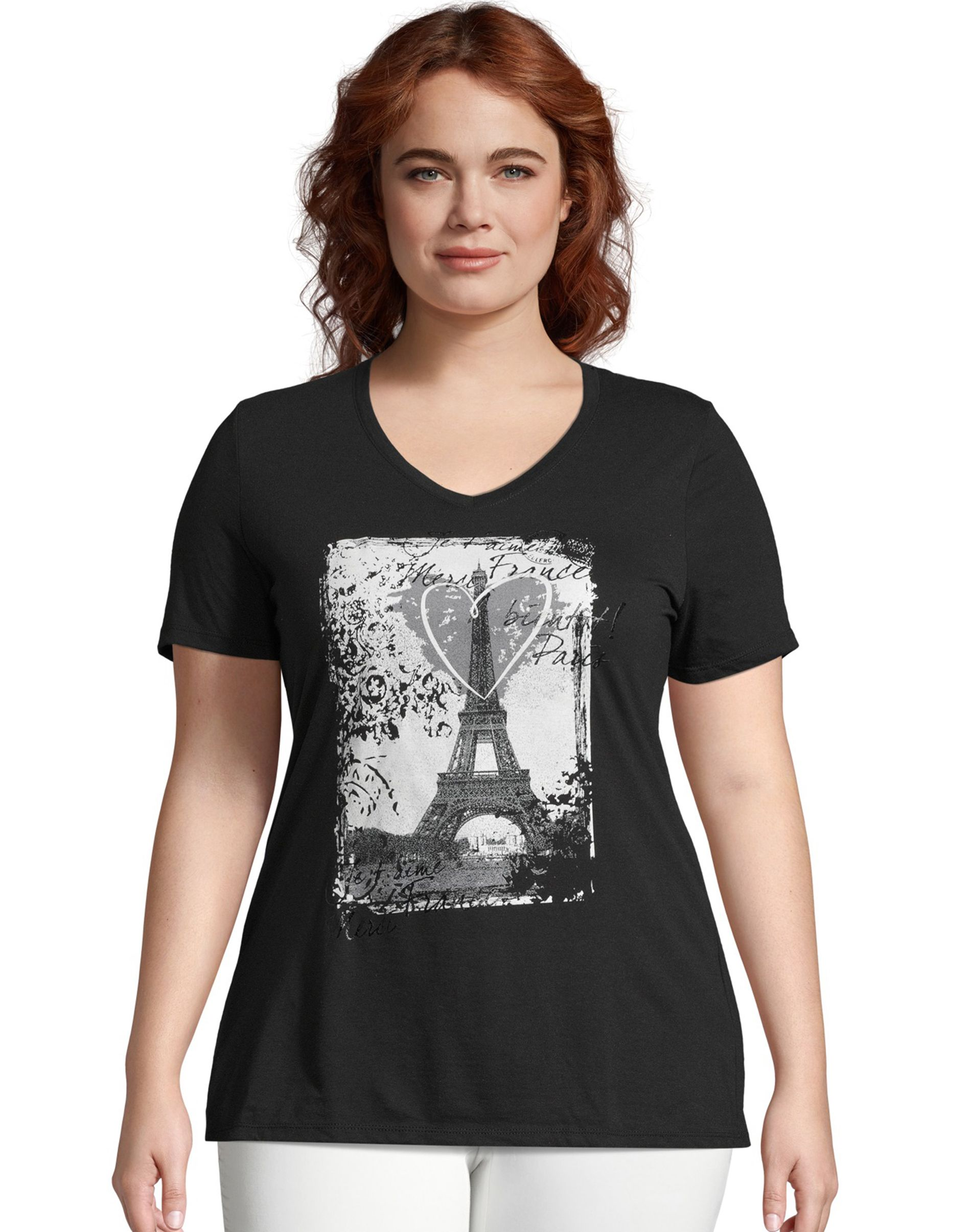 just my size l'amour paris short sleeve graphic t-shirt women Just My Size