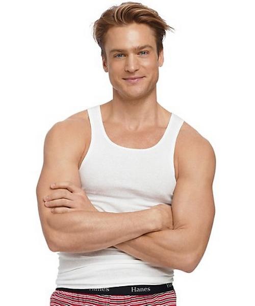 Hanes Men's TAGLESS® ComfortSoft® White A-Shirt 5-Pack (2X-3X) men Hanes