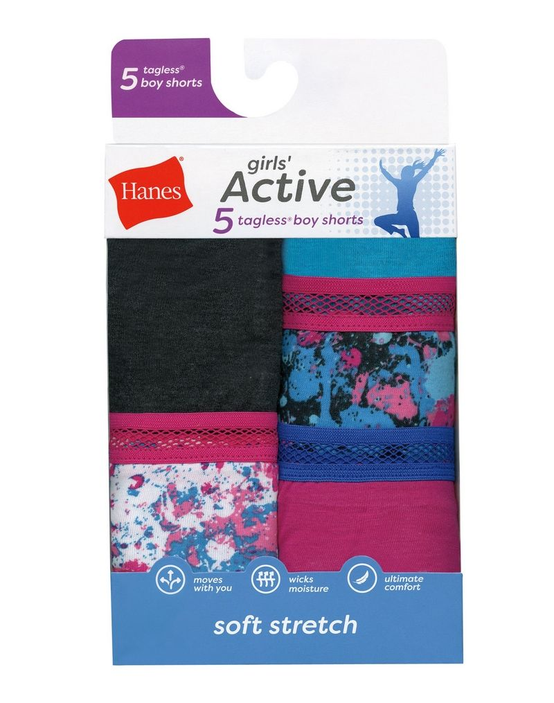 Hanes Girls' Active Stretch Gymshorts 5-Pack youth Hanes