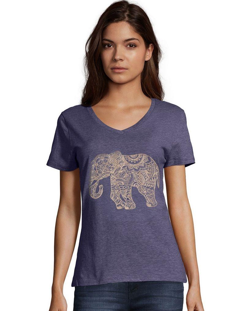 Hanes Women's Pattern Elephant Short Sleeve V-Neck Tee women Hanes