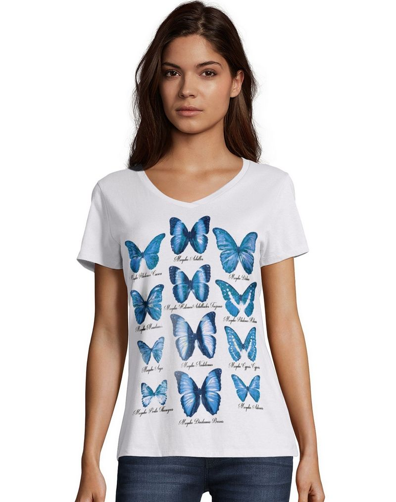 Hanes Women's Butterfly Collection Short-Sleeve V-Neck Graphic Tee GT9337Y06594