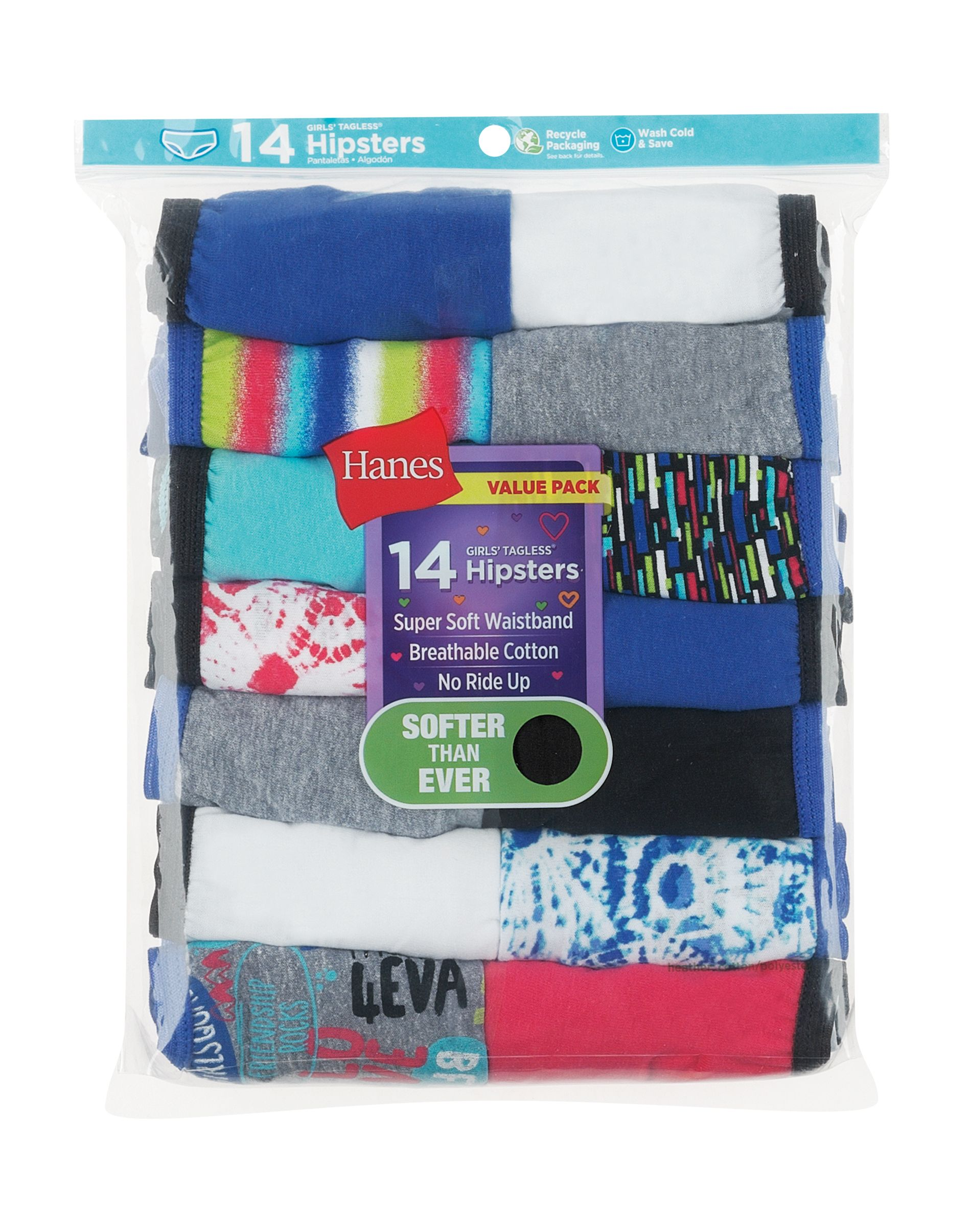 hanes girls' hipsters 14-pack youth Hanes