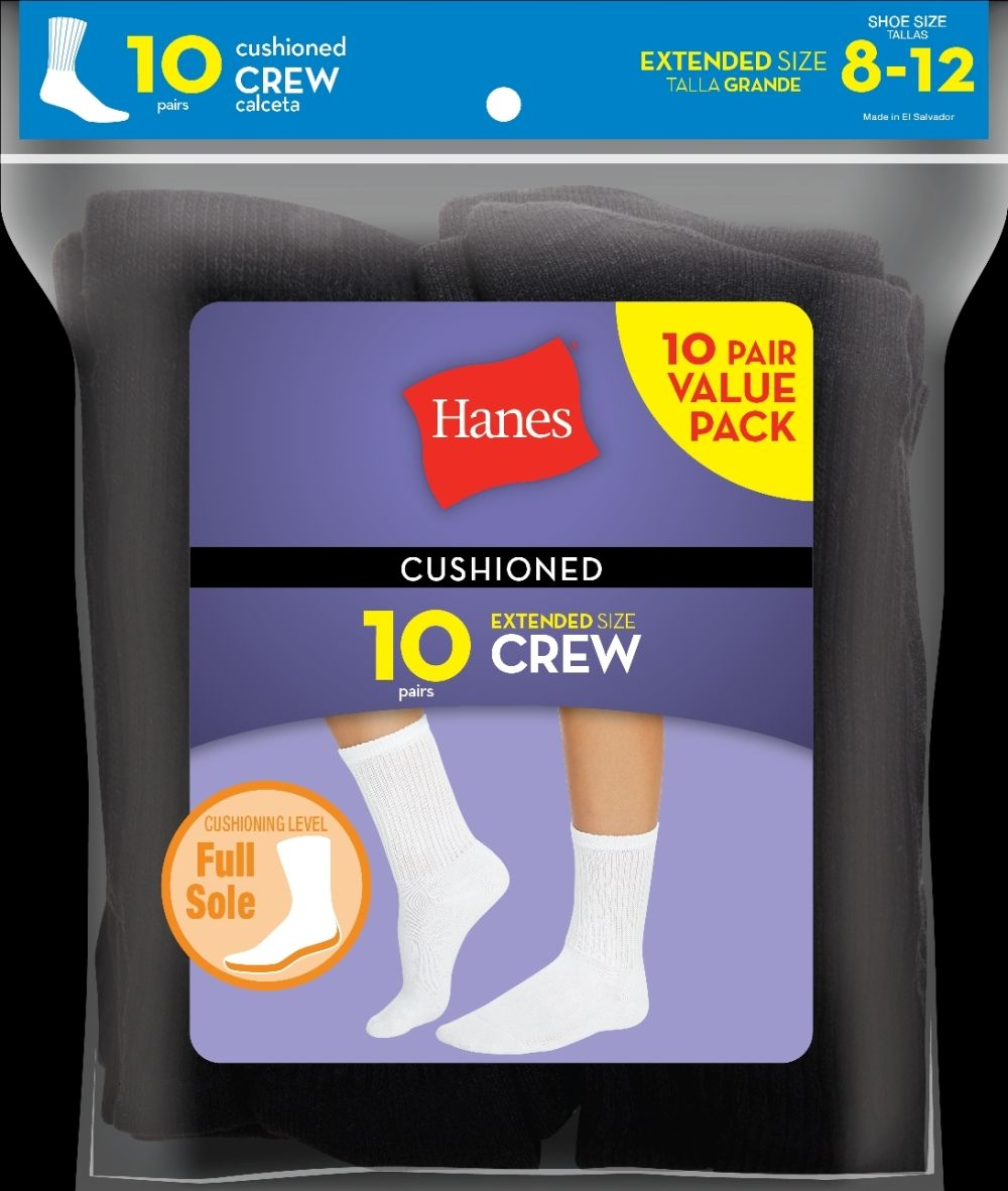 Hanes Cushioned Women's Crew Athletic Socks Extended Size 10-Pack women Hanes