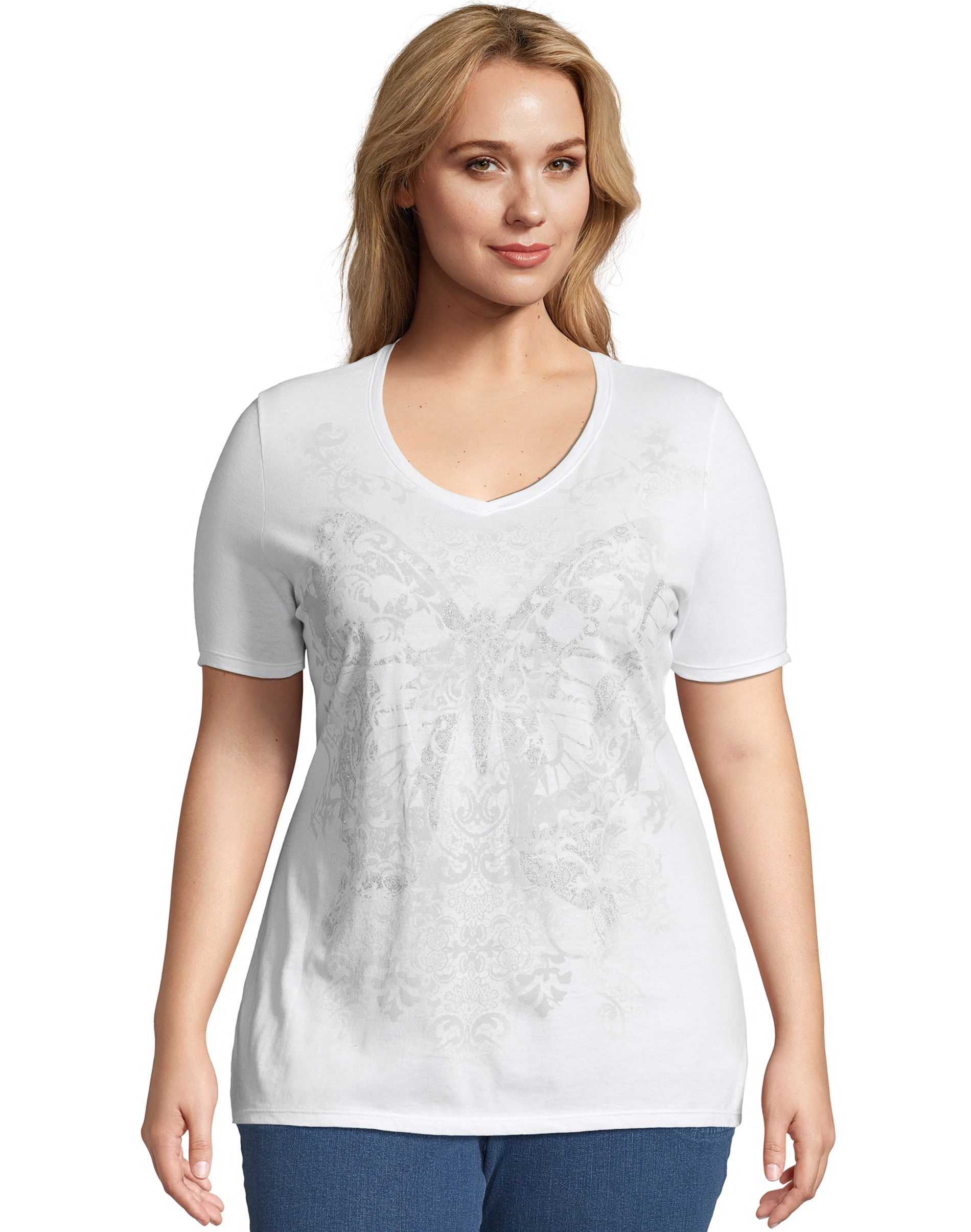 JMS Fall Wings Short Sleeve Graphic Tee women Just My Size
