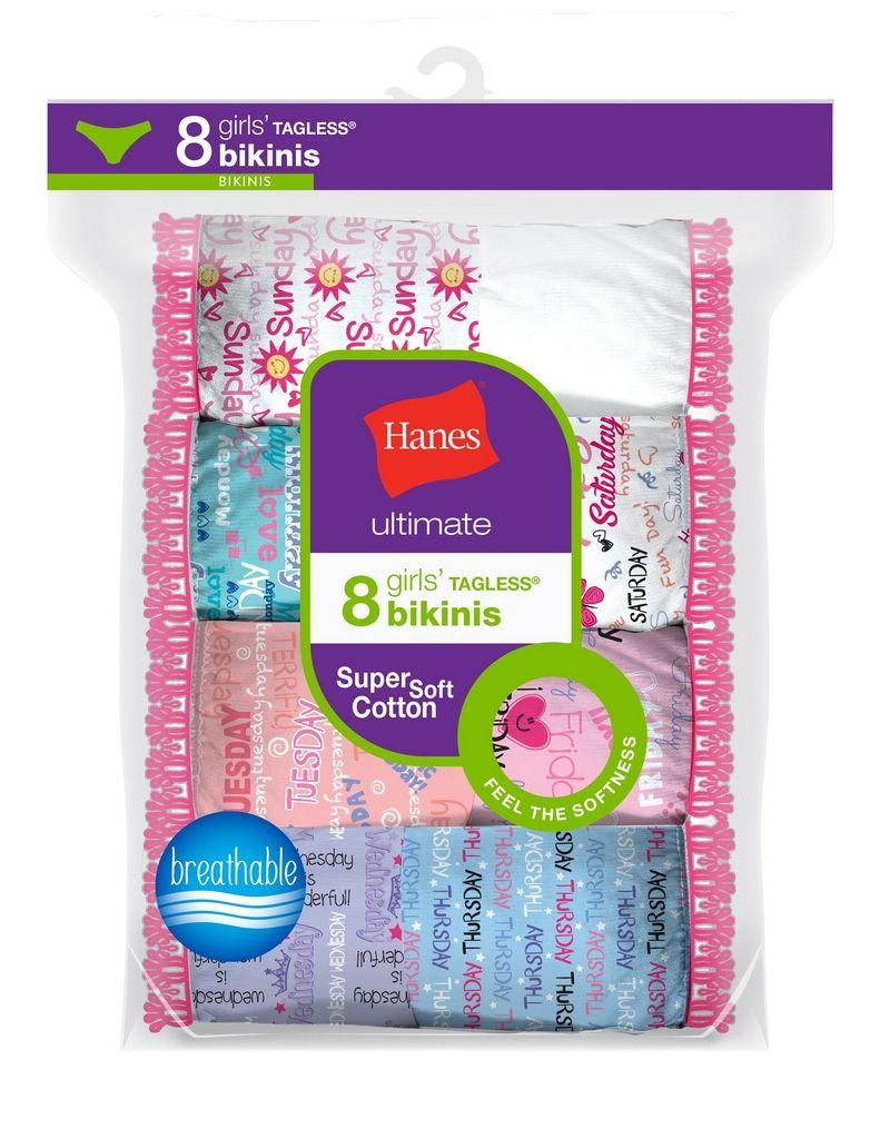 Hanes Ultimate® Girls' Cotton Bikinis 8-Pack youth Hanes