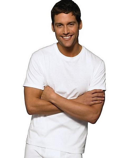 Hanes Classic Mens White Crew Neck T-Shirt P6 men Hanes