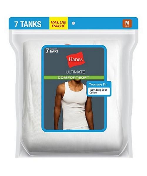 Hanes Classics Mens White A-Shirts P7 men Hanes