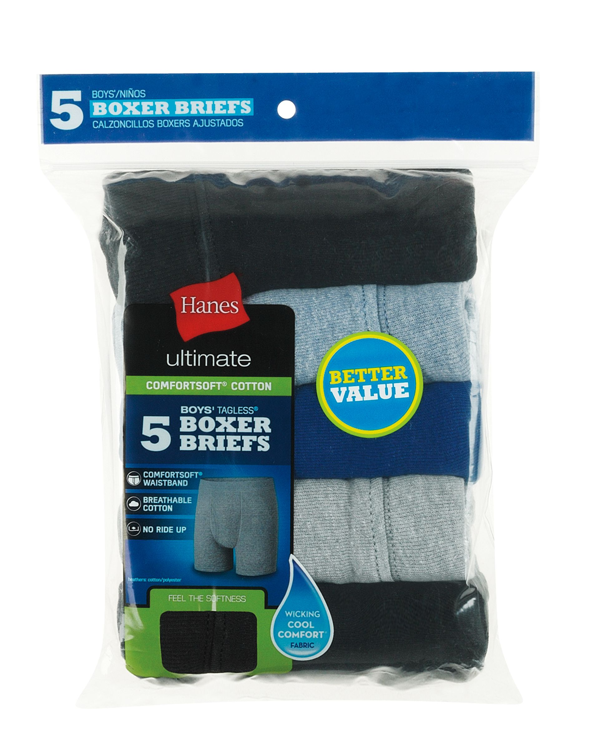 hanes ultimate® boys' dyed boxer brief with comfortsoft® waistband 5-pack youth Hanes