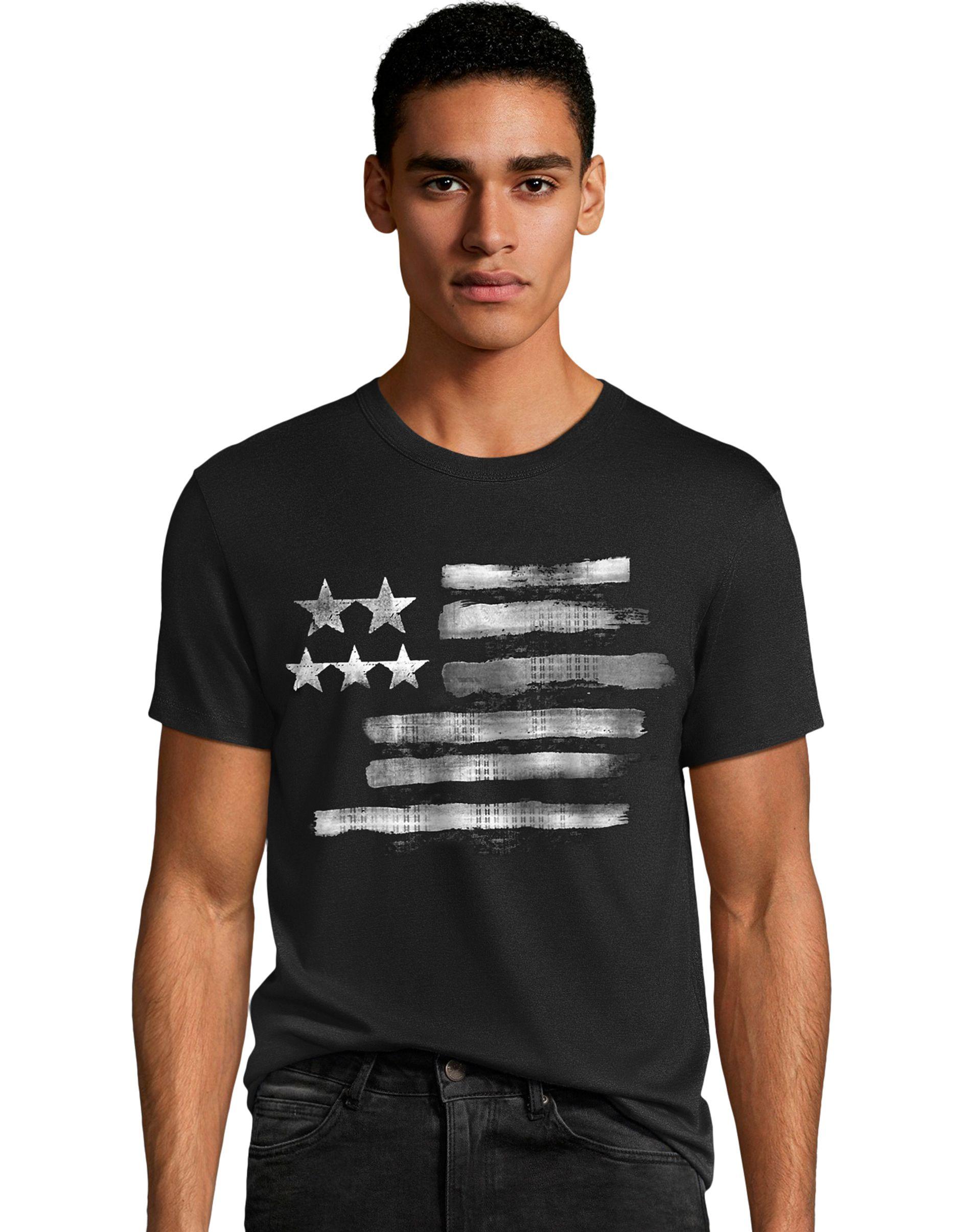Men's Black & White Flag Graphic Tee men Hanes