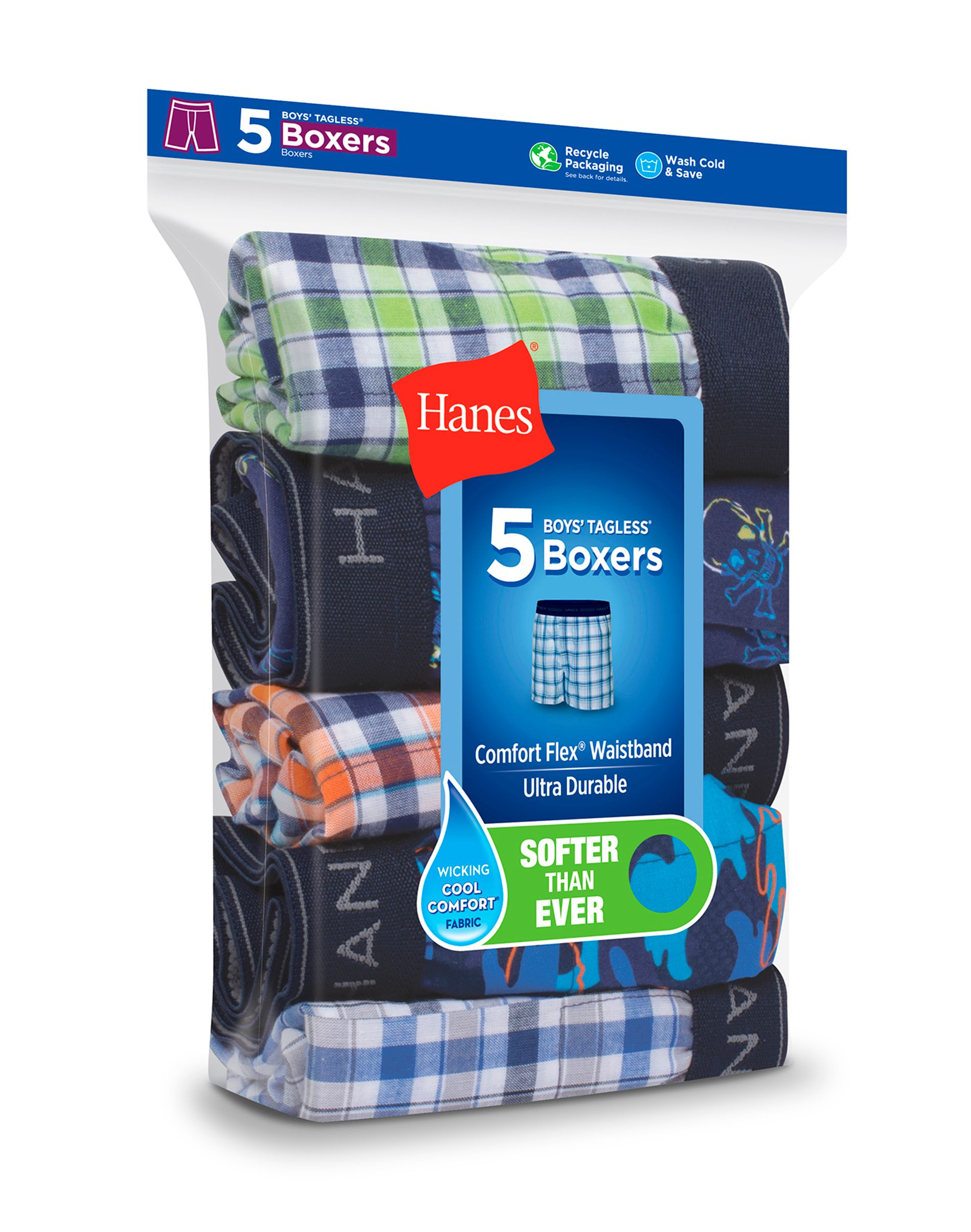 hanes boys comfort flex® woven boxer 5-pack youth Hanes