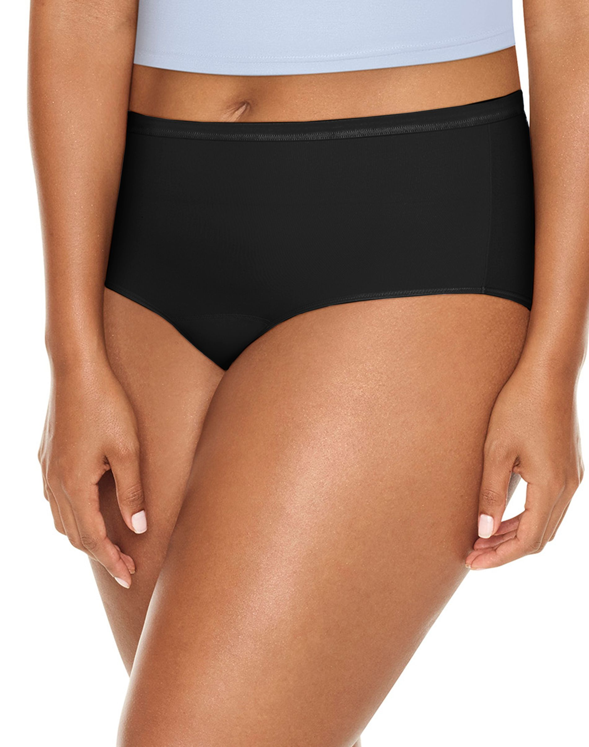 jms fresh & dry leak protection liner all black brief 3-pack women Just My Size