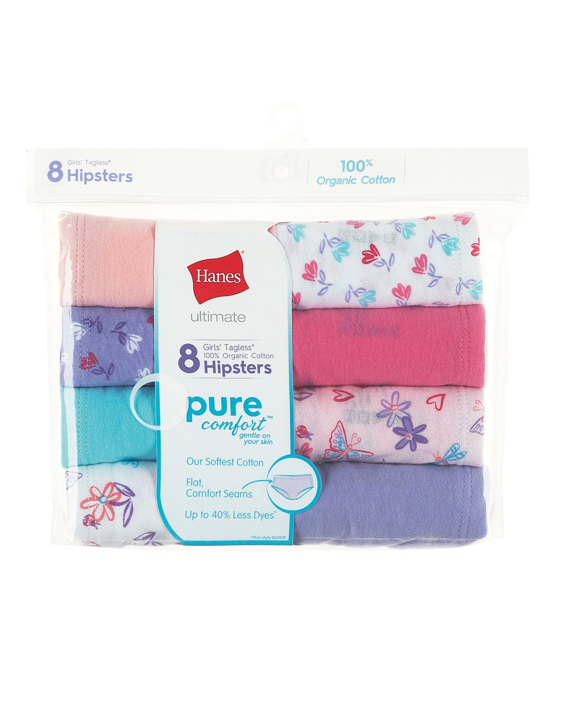 hanes ultimate® girls' pure comfort organic cotton hipster 8-pack youth Hanes
