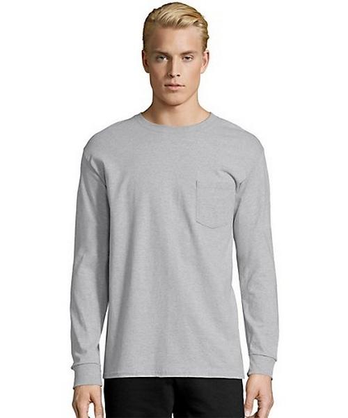 Hanes Men's TAGLESS® Long-Sleeve T-Shirt with Pocket men Hanes